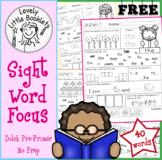 FREE Pre-Primer NO PREP Sight Word Focus