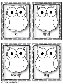 Pre-Primer Sight Word Flashcards {Owl Theme}
