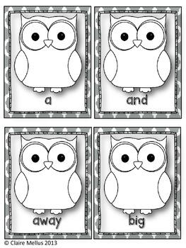 Pre-Primer Sight Word Flashcards {Owl Theme}