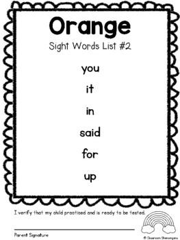 Pre-Primer (PreK / TK) Dolch Rainbow Sight Words (Complete Set)