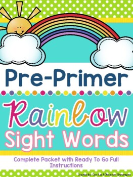 Pre-Primer (PreK / TK) Dolch Rainbow Sight Words (Complete Set)