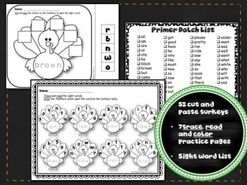 Pre-Primer & Primer Dolch Bundle {Thanksgiving Theme}