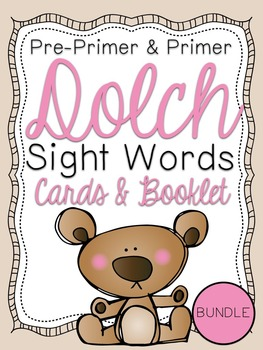Pre-Primer & Primer Dolch Sight Word Cards & Booklet BUNDLE - Bears Theme