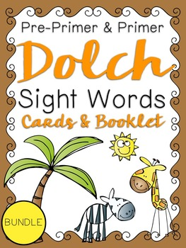Pre-Primer & Primer Dolch Sight Word Cards & Booklet BUNDLE -Jungle Theme