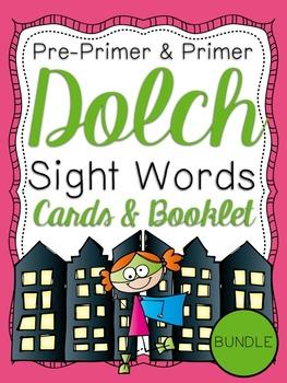 Pre-Primer & Primer Dolch Sight Word Cards & Booklet BUNDLE - Superhero Theme