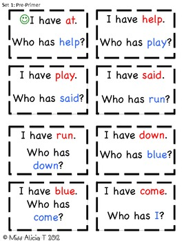 Pre-Primer & Primer I have, Who has Sight Word Game