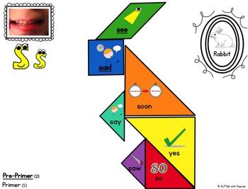 Pre-Primer & Primer Sight Word Tangrams by Phoneme