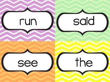 Pre-Primer, Primer, and First Grade Sight Words {Chevron}