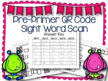 QR Code Literacy Center & Write the Room Activity: Pre-Primer Sight Words