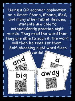 Pre-Primer QR Sight Word Cards