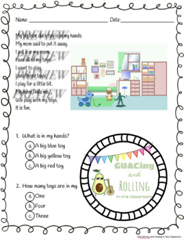 Pre-Primer Reading Comprehension Passage with Questions