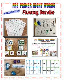 Pre Primer SIGHT WORD FLUENCY Practice and Intervention