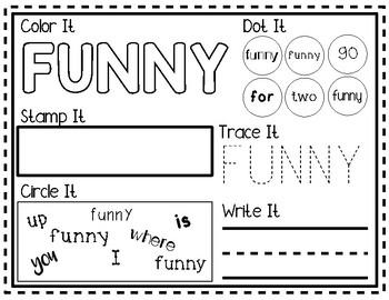 NO PREP Pre-Primer Sight Word Worksheets