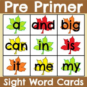 Pre Primer Seasonal Sight Word Cards Bundle