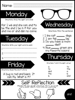 Pre-Primer Self-Reflection Sight Word Journal