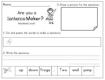 Sight Words Cut and Paste Jumbled Sentences: Pre-Primer Sentence Building