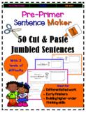 Sight Words Cut and Paste Jumbled Sentences: Pre-Primer Se