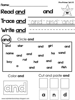 Pre Primer Sight Word Activities Entire Set