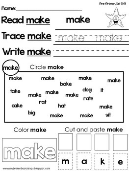 Pre Primer Sight Word Activities Set 5 of 8