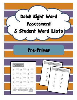 Pre-Primer (Pre-K / Kinder) Sight Word Assessment (Dolch)