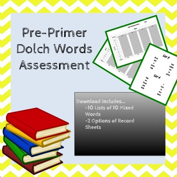 Pre Primer Dolch Sight Word Assessment Mixed by Level