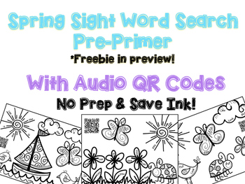 Interactive Audio QR Code Sight Word Activity: Pre Primer