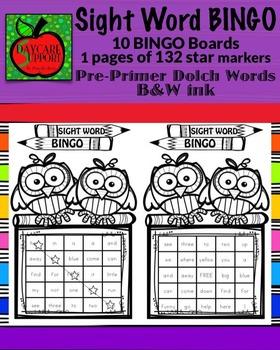 Pre-Primer Sight Word BINGO B&W ink (Daycare Support by Pr