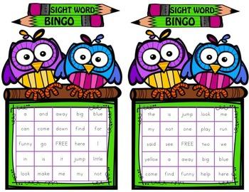 Pre-Primer Sight Word BINGO color ink (Daycare Support by Priscilla Beth)