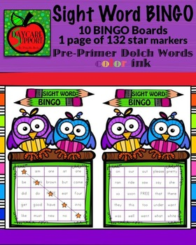 Pre-Primer Sight Word BINGO color ink (Daycare Support by