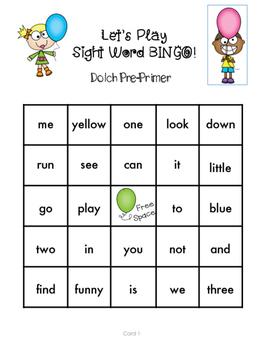 Pre-Primer Sight Word Bingo Kindergarten