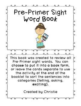 Pre-Primer Sight Word Book