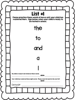 Pre-Primer Sight Word Book (Dolch)