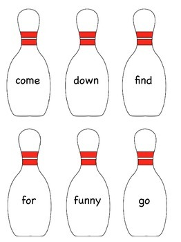 "Sight Word Bowling ""Bang"" Game"