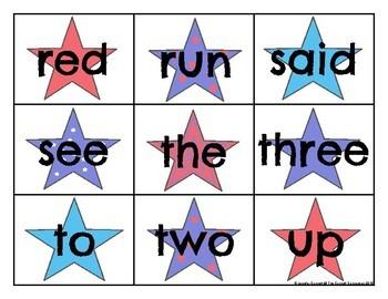 Pre Primer Sight Word Cards Patriotic Theme