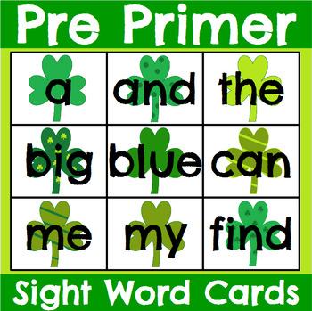 Pre Primer Sight Word Cards Saint Patrick's Day