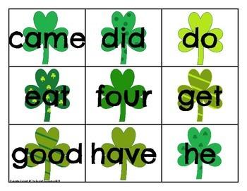 Primer Sight Word Cards Saint Patrick's Day