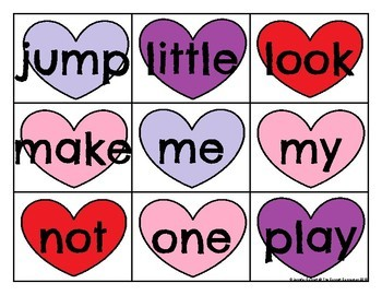 Pre Primer Sight Word Cards Valentine's Day