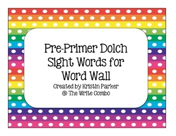 Pre-Primer Sight Word Cards for Word Wall