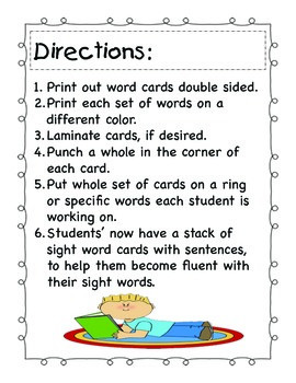 Pre-Primer Sight Word Cards with Sentence Helpers