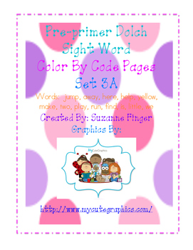 Pre-Primer Sight Word Color-By-Code No Prep Worksheets:  Set 3