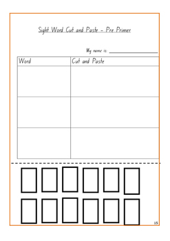 Pre Primer Sight Word Cut and Paste