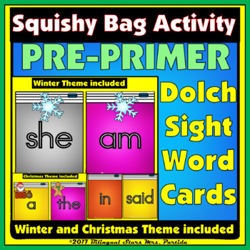 Pre-Primer Sight Word Dolch  Word Cards Squishy Bag Center