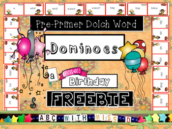 Pre-Primer Dolch Sight Word Dominoes, a Thanksgiving Literacy Center Freebie