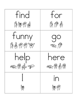 Pre Primer Sight Word Flash Cards with ASL Spelling