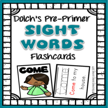 Sight Words Picture Flashcards - Pre Primer