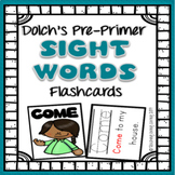 Sight Word Flashcards with Pictures and Sentences - Dolch Pre Primer