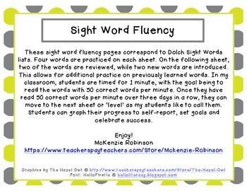 Sight Word Fluency: Dolch Pre-Primer