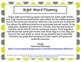 Sight Word Fluency: Dolch Pre-Primer