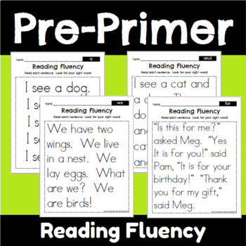 Pre-Primer Sight Word Fluency Bundle