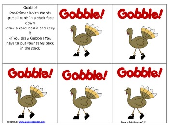 Pre-Primer Sight Word Game--Thanksgiving--Gobble!